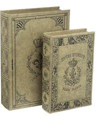 Bokask boklåda bokgömma gammal bok fransk lilja krona 2 storlekar shabby chic lantlig stil