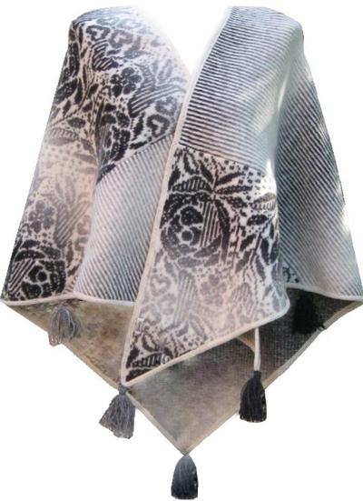 Stor sjal stickad filtad Jaquard svart vit grå romantisk shabby chic lantlig stil