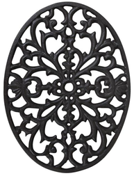 Grytunderlägg gjutjärn stort snirkligt ovalt shabby chic lantlig stil fransk lantstil