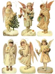 Viktorianska änglar vinteränglar set med 6 st att hänga shabby chic lantlig stil