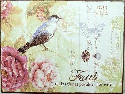 Plåtskylt skylt Faith rosa rosor fågel romantisk shabby chic