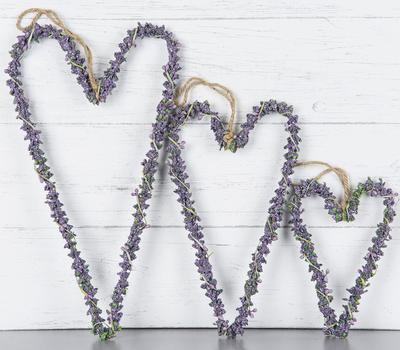Hängande hjärta lavendel lavendelhjärta 3 storlekar shabby chic lantlig stil
