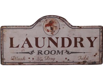 Skylt Laundry Room plåtskylt för tvättstuga shabby chic lantlig stil