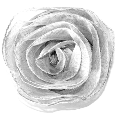 Ljusgrå Ros i chiffong till dekoration shabby chic