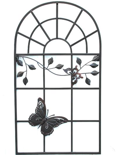 Fönsterdekoration väggdekoration jalusi insynsskydd svart smide med fjäril shabby chic