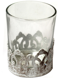 Ljushållare liten ljuslykta vit smide ornament och glas