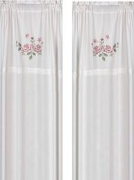 1 par Gardinlängder vit med rosa rosor i korsstygn och spets shabby chic lantlig stil