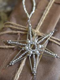 Gammeldags pynt Stjärna av pärlor shabby chic lantlig stil