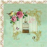 Servetter Fågelbur rosor romantisk  fransk lantstil shabby chic lantlig stil