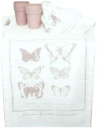 Löpare fjärilar vit rosa tryck shabby chic lantlig stil