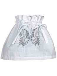 Lampkjol vit Fjärilstryck blå shabby chic lantlig stil