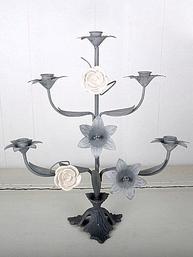 Kyrkokandelaber kandelaber kyrkoljusstake zink porslinsrosor shabby chic lantlig stil