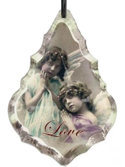 Stor prisma i glas med änglar Love shabby chic lantlig stil