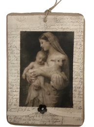 Kort handgjort vintagemotiv madonna barn sidenband ornament Jeanne darc Living