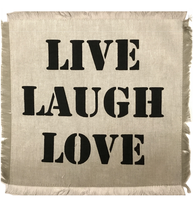 "Tyglapp för dekoration med text ""LIVE LAUGH LOVE""  shabby chic lantlig stil"