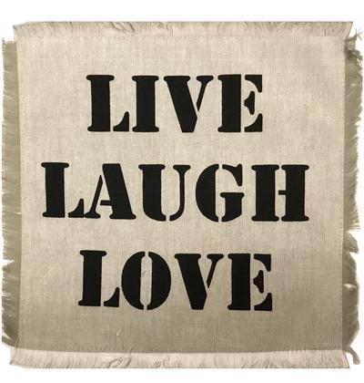 """Tyglapp för dekoration med text """"LIVE LAUGH LOVE""""  shabby chic lantlig stil"""