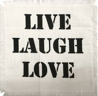 "Tyglapp för dekoration vit med text ""LIVE LAUGH LOVE""  shabby chic lantlig stil"