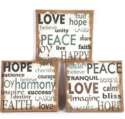Canvastavla Love Peace Hope 3 sorter shabby chic lantlig stil industristil