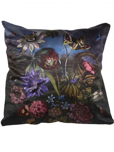 Kuddfodral Flower Garden at Night sammet  shabby chic lantlig stil