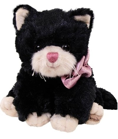Katt svart vit katt rosa nos rosett mjukisdjur Bukowski Design