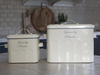 Tvättmedel låda förvaring  Set av 2 st  Antiquecreme emalj shabby chic lantlig stil