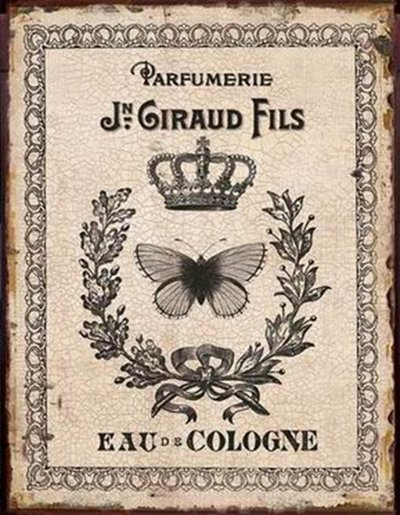 Plåtskylt Vintage Parfym Fjäril krona Shabby chic lantlig stil