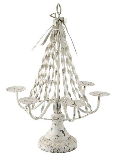 Bordsljusstake stor Gustavian kandelaber vit smide shabby chic lantlig stil