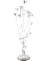 Golvljusstake kandelaber vit med rosor fransk lantstil shabby chic lantlig stil