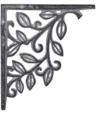 Antikgrå grå konsoll hyllbärare gjutjärn snirklig löv shabby chic lantlig stil