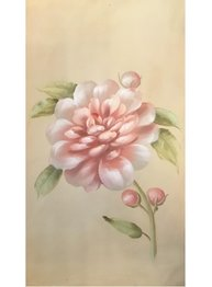 Stor handmålad tavla Ljus Rosa Pion shabby chic lantlig stil