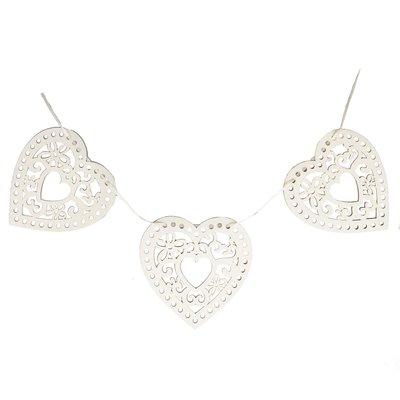 Hjärtan vit slinga hjärtslinga bröllopsdekoration lantlig stil shabby chic
