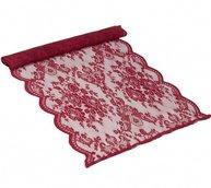 Löpare röd spets rosor duk i shabby chic lantlig stil
