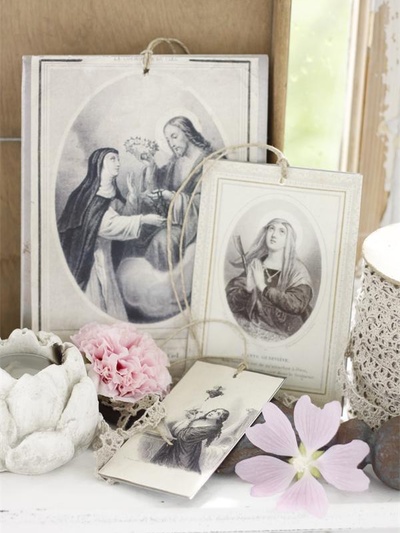 Madonna bilder i plåt shabby chic lantlig stil Jeanne darc living