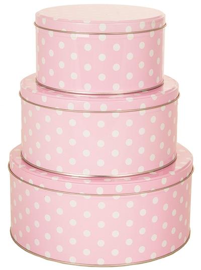 Plåtburk 3 storlekar rund rosa vit prickig shabby chic lantlig stil