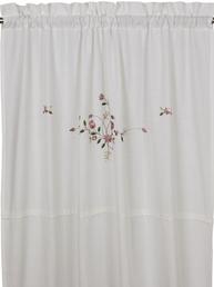 Gardinlängder vit broderade rosa blommor spets shabby chic lantlig stil