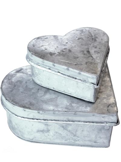 Plåtburk hjärta zink 2 storlekar shabby chic lantlig stil.
