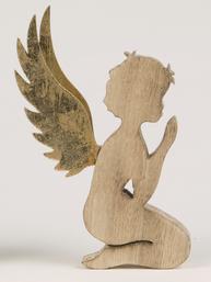 Ängel gammaldags kerub sittande i trä shabby chic lantlig stil