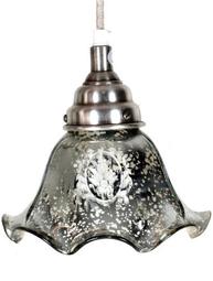 Lampa fattigmanssilver tygsladd klockad volang kant etsat mönster shabby chic lantlig stil