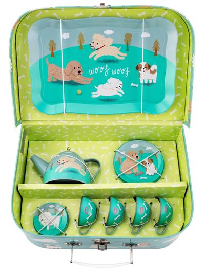 Picknick väska barnservis Hundvalpar plåt shabby chic lantlig stil