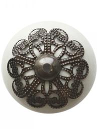 Knopp vit porslin ornament shabby chic lantlig stil