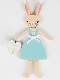 Kanin påskhare kaninflicka turkos med hjärta Happy Easter trä shabby chic lantlig stil