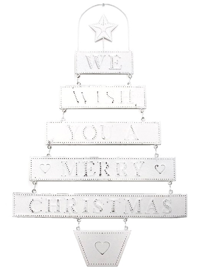 Plåtskylt WE WISH YOU A MERRY CHRISTMAS shabby chic lantlig stil