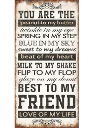 Plåtskylt med magnet you are the peanut to my butter shabby chic lantlig stil