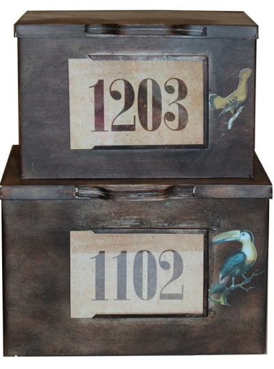 Låda plåtlåda koffert i antikbehandlad patinerad plåt industristil