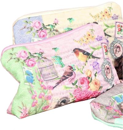 Sminkväska Vintage romantisk fågelbur och rosor pastell shabby chic lantlig stil 3 färger