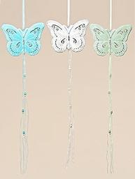 Fjäril mobil vit, turkos eller ljusgrön i plåt trä textil shabby chic lantlig stil