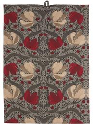 Kökshandduk röd grå Red Pimpernell shabby chic lantlig stil fransk lantstil