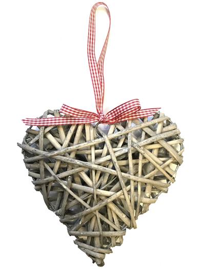 Grått hjärta rotting rödrutigt band fransk lantstil shabby chic lantlig stil