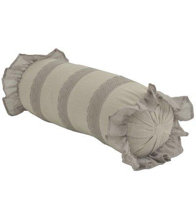 Beige linne färgad pölkudde kudde med volanger och spets shabby chic lantlig stil