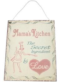 Mama´s kitchen skylt plåt shabby chic lantlig stil
